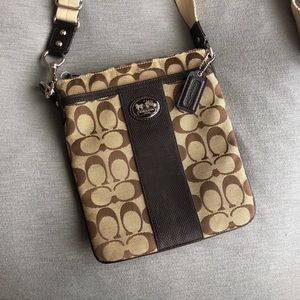 Coach Signature Jacquard Swingpack Brown Crossbody